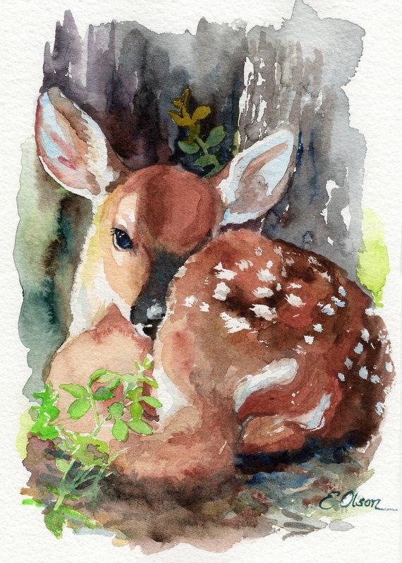 Original Watercolor Fawn Deer Wall Art Nursery Decor Animal Art
