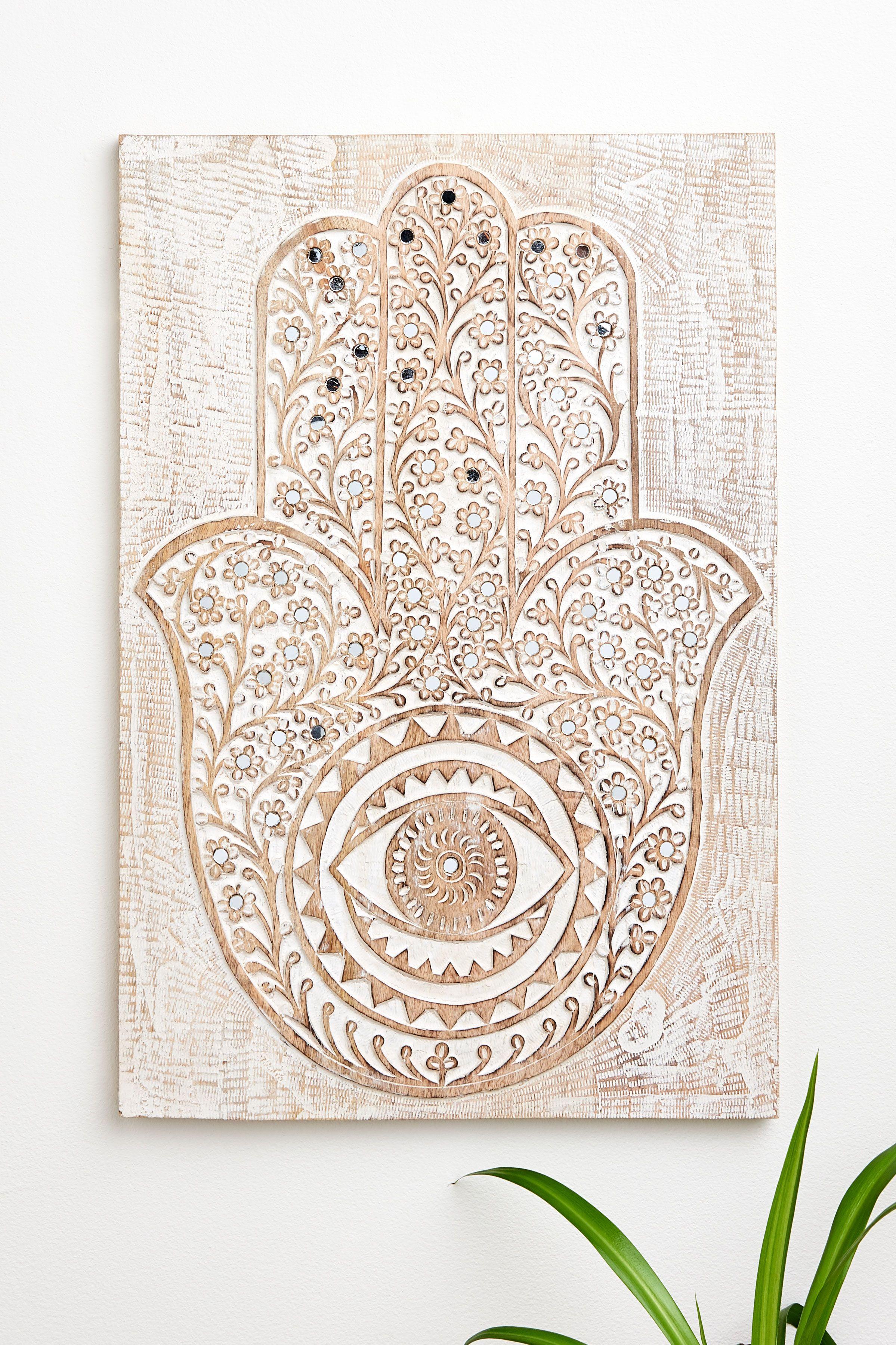 Hamsa Hand Wood Plaque With Mirrors Hamsa Hand Hamsa Wood Plaques