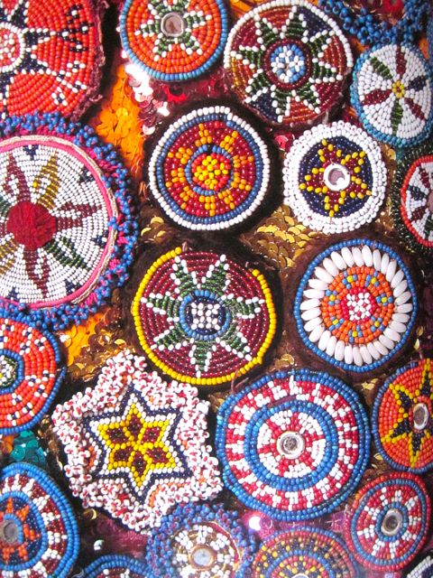 Beaded Tribal Guls (flowers) / amulet used to embellish clothing in Pakistan and Afghanistan.