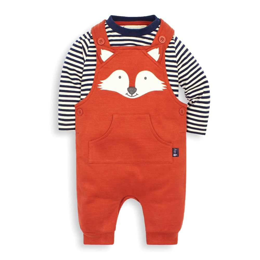 UK NEW Baby Boys Clothes Baby Orange Striped Two Piece Top Dungaree Set