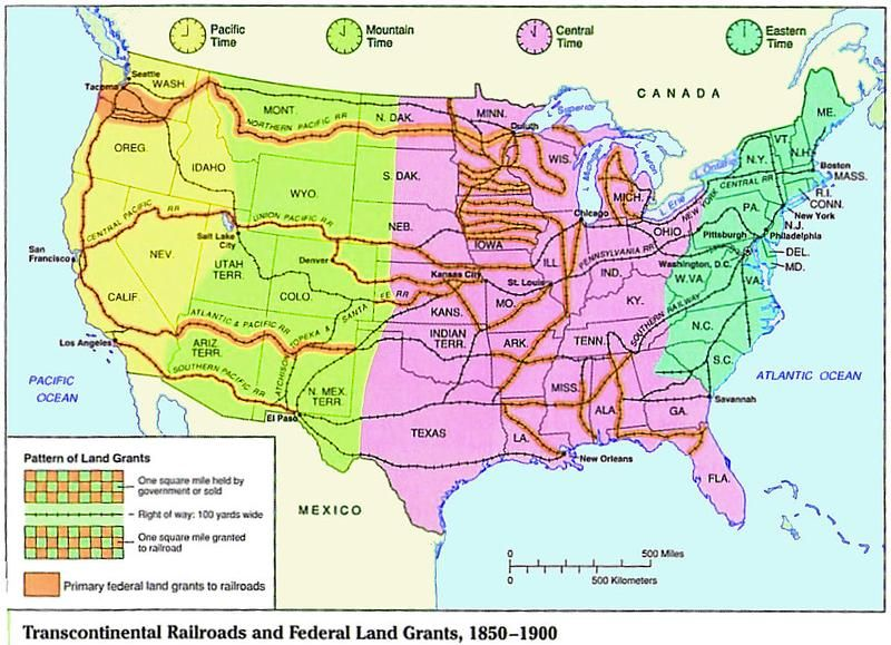 1850-1900) Transcontinental Railroad and Federal Land Grants | (1865 ...