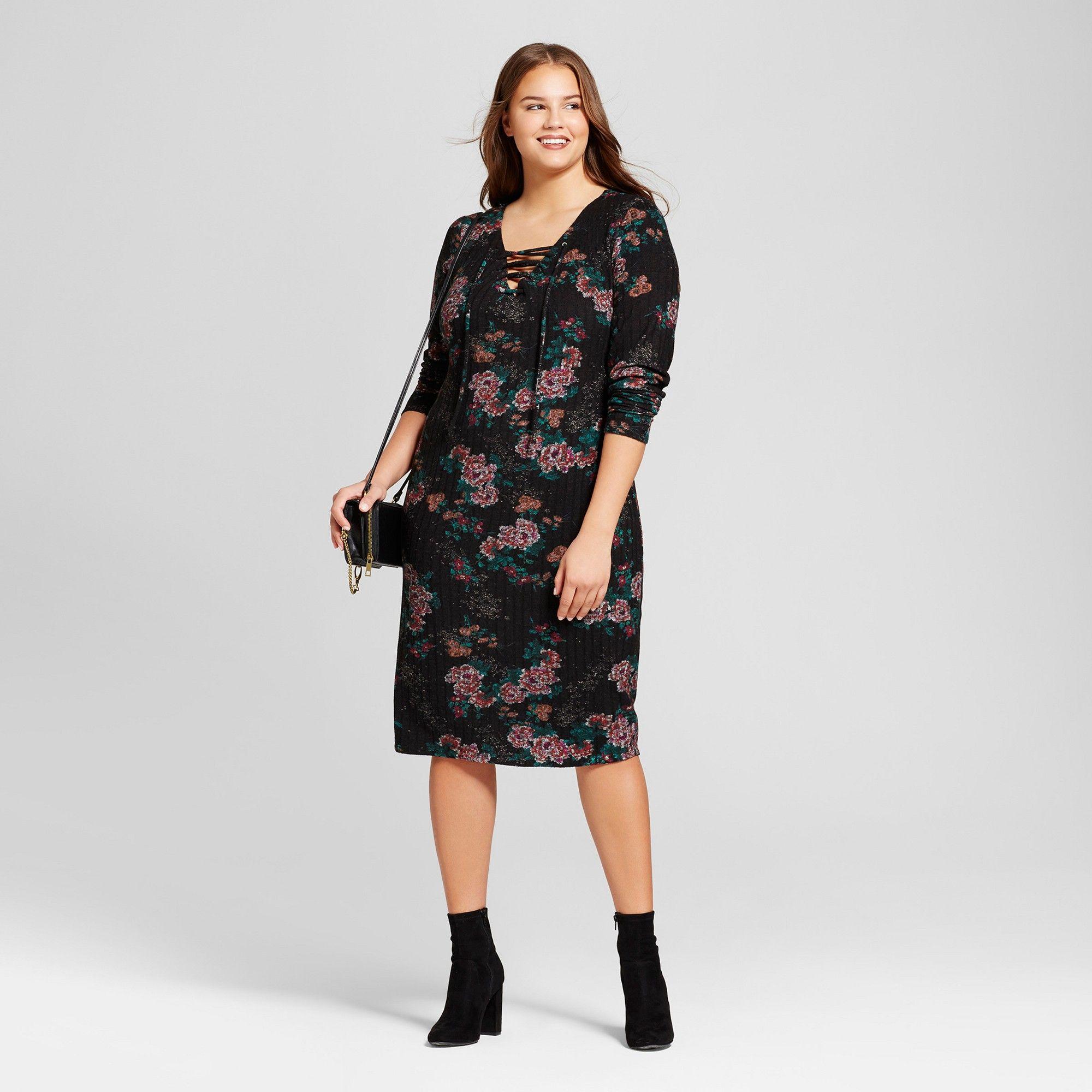 108b8120f3 Women s Plus Size Cozy Floral Print Lace Up Dress - Xhilaration Black 3X