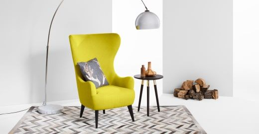 Bodil Ohrensessel, Gelbgrün - wohnzimmer gelb grun