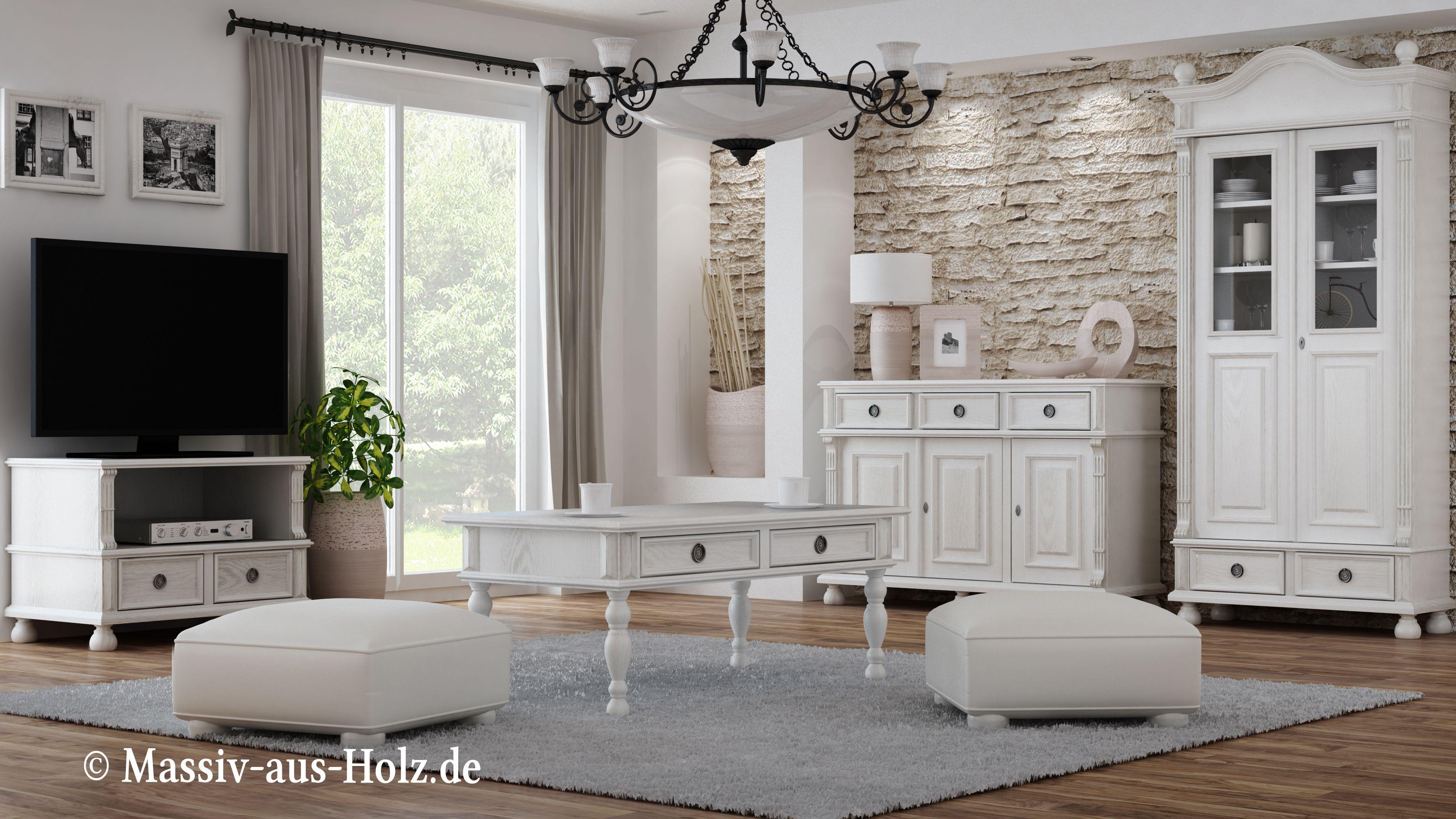 Happy place - white living room by massiv-aus-holz.de # ...