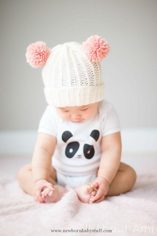 Crochet Baby Hats Bear Pom Beanie | Crochet Baby Hats | Pinterest