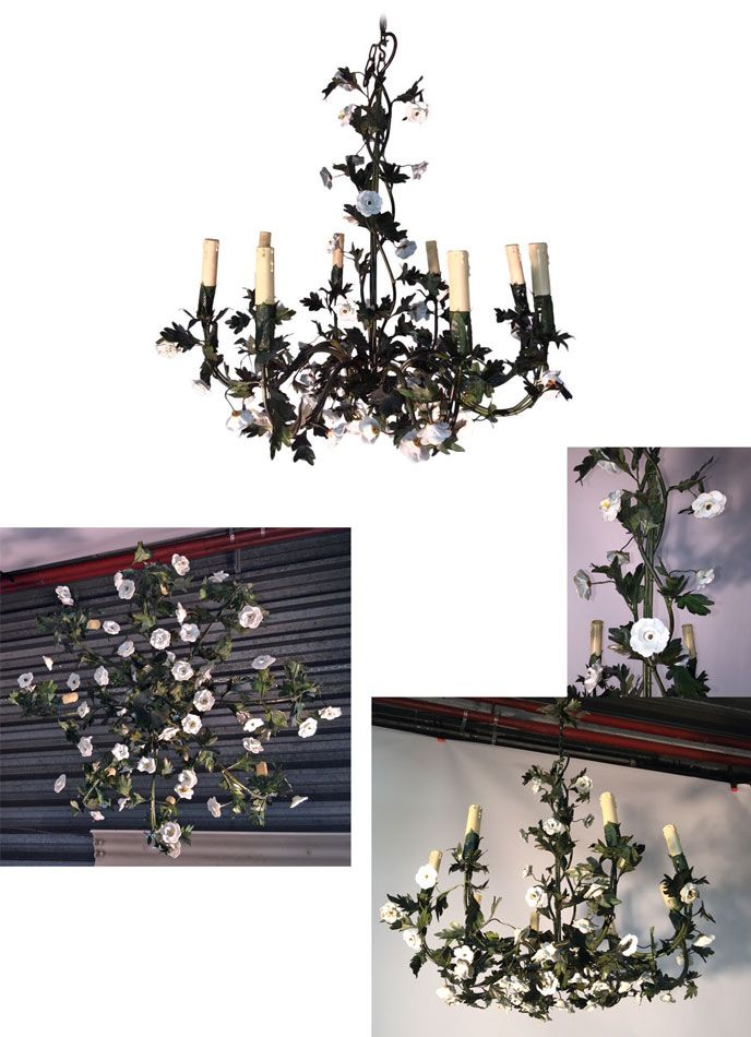 lustre n o romantique en fer forg vert et fleurs en c ramique 1960 luminaires design vintage. Black Bedroom Furniture Sets. Home Design Ideas