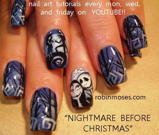 Nightmare Before Christmas Nails By Robin Moses, Nail Art