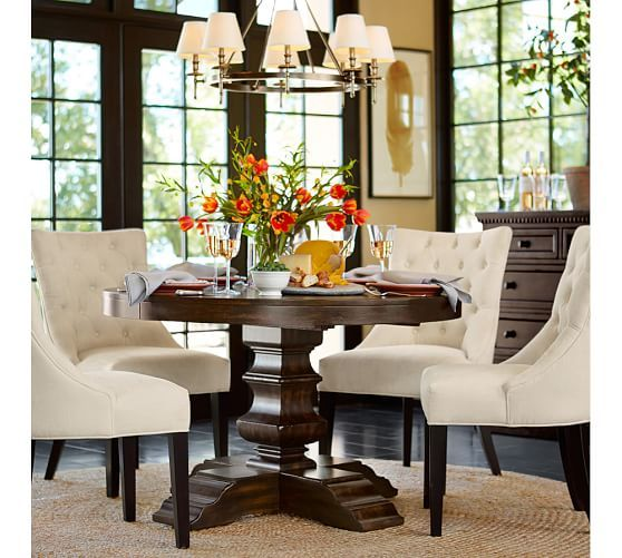 Banks Extending Pedestal Dining Table  Pottery Barn  Furniture Impressive Dining Room Pottery Barn Design Inspiration