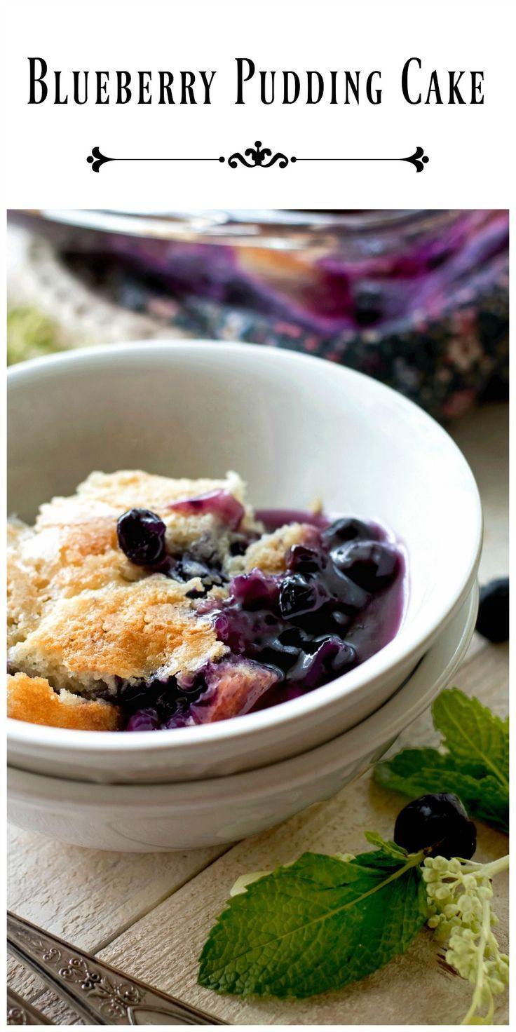 Blueberry Pudding Cake - warm saucy blueberries topped with a tender layer of cake that can be topped with milk or cream for a delicious comforting treat. via @https://www.pinterest.com/BunnysWarmOven/bunnys-warm-oven/