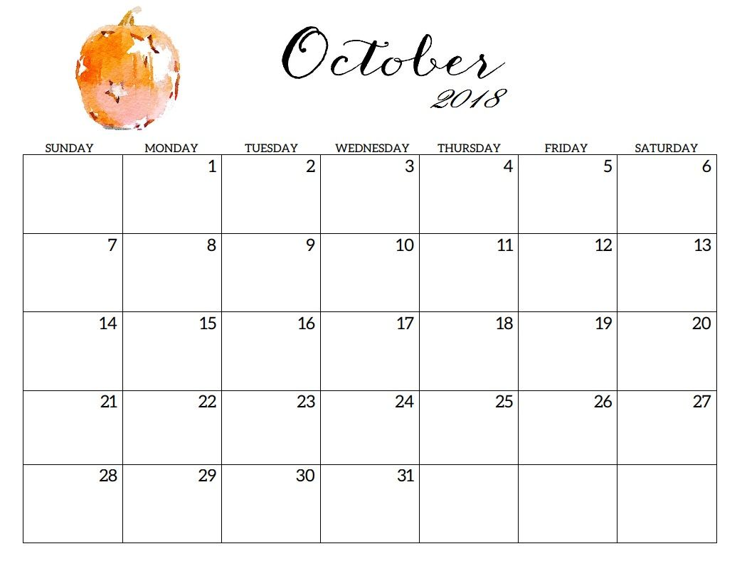 October 2018 Printable Blank Calendar Calendar Printables Blank Calendar Pages 2018 Printable Calendar