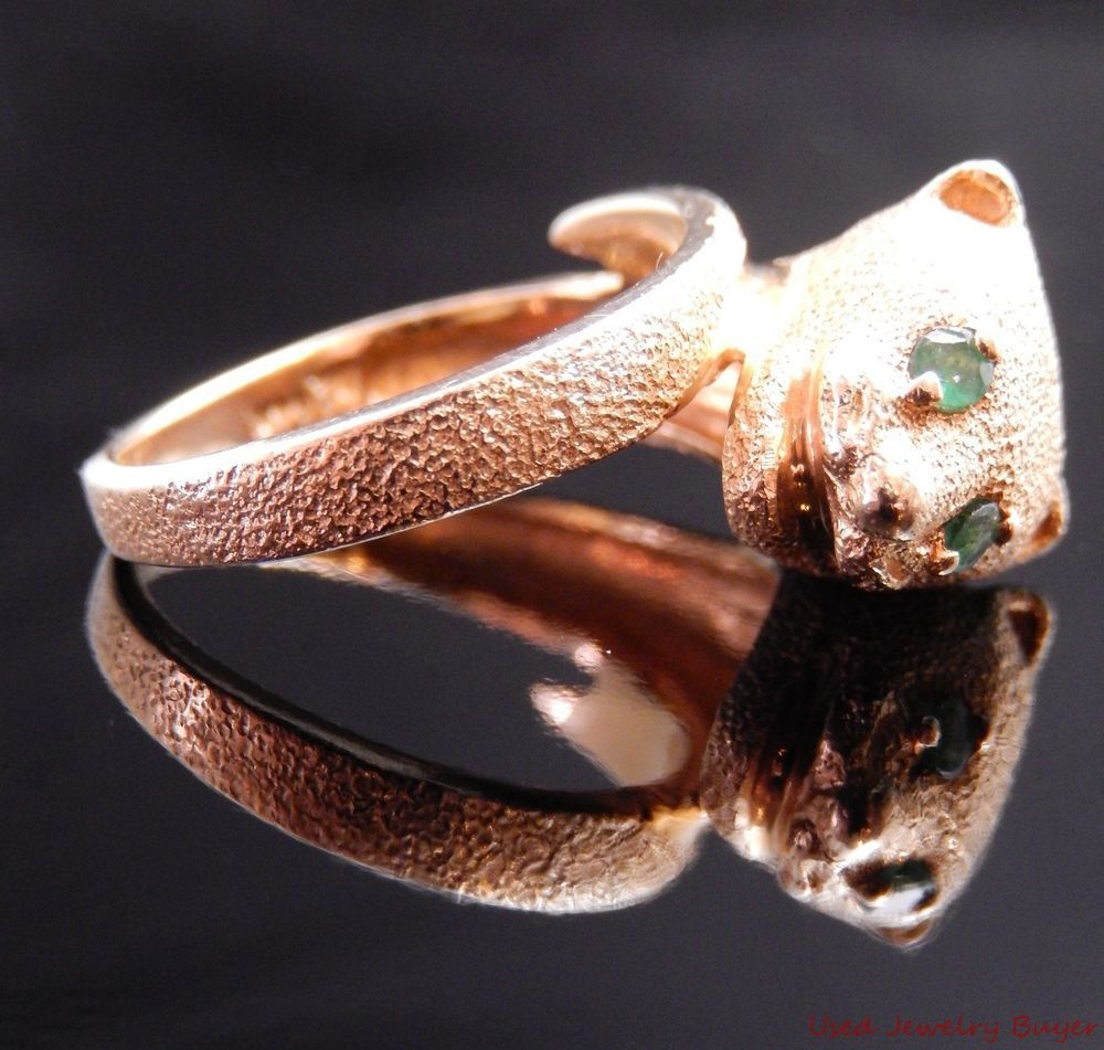 Vintage 14k Yellow Gold Panther Leopard Cat Shaped Ring w