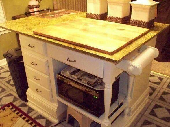 Repurposed Desk Into Kitchen Island Dresser Kitchen Island Diy