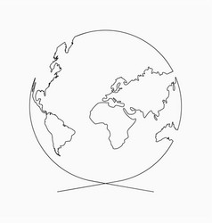 Globe Outline Icon Royalty Free Vector Image Vectorstock Simple Line Drawings Globe Outline Earth Drawings