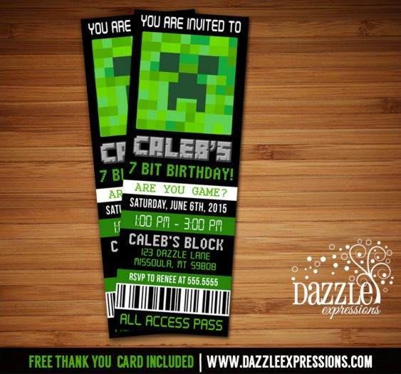 Printable Minecraft Inspired Ticket Birthday Invitation Video Game