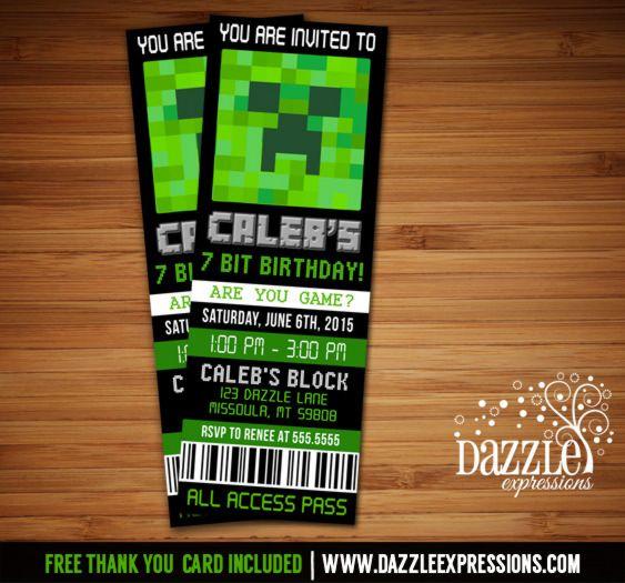 Printable Minecraft Inspired Ticket Birthday Invitation Video - free printable ticket style invitations
