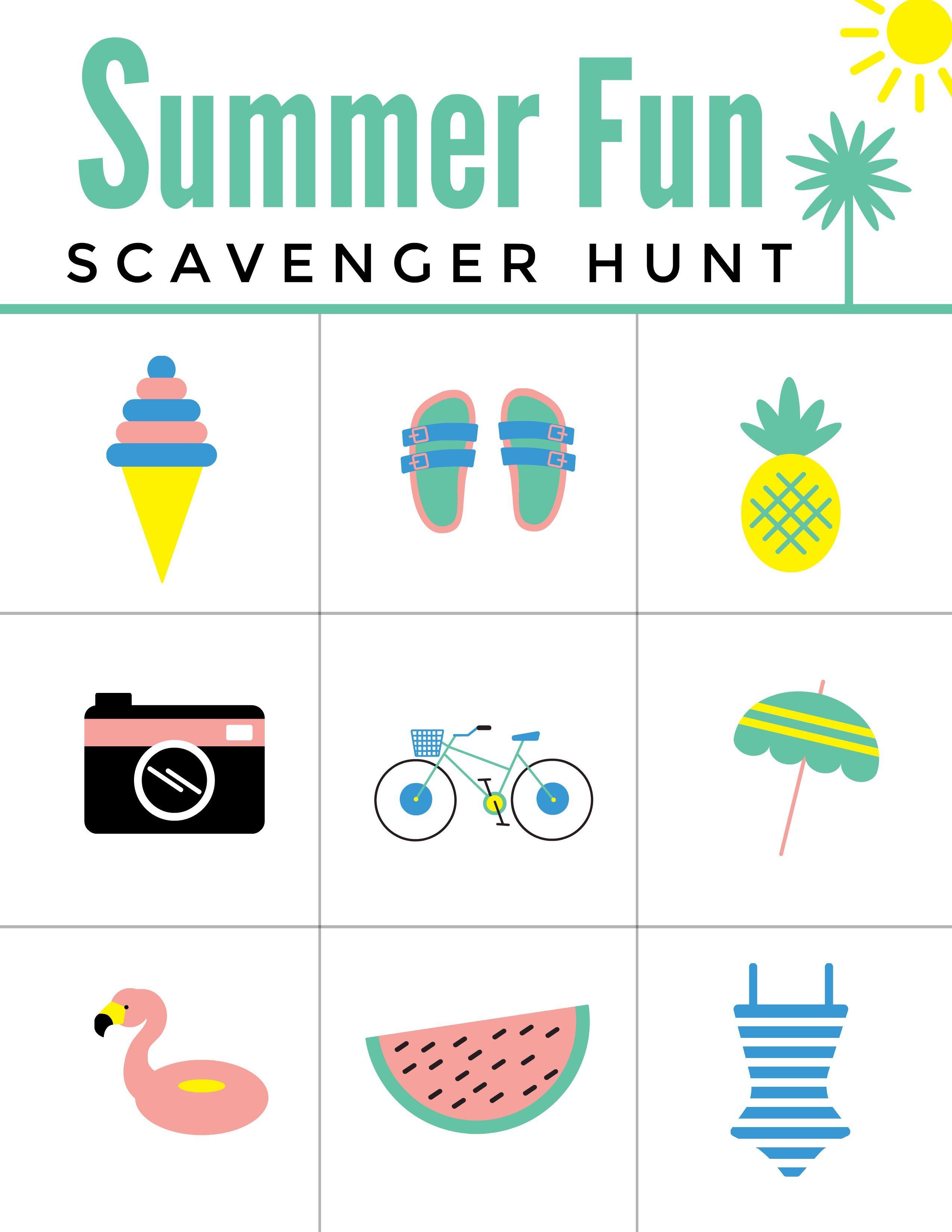 Summer Fun Scavenger Hunt Free Printable Worksheet