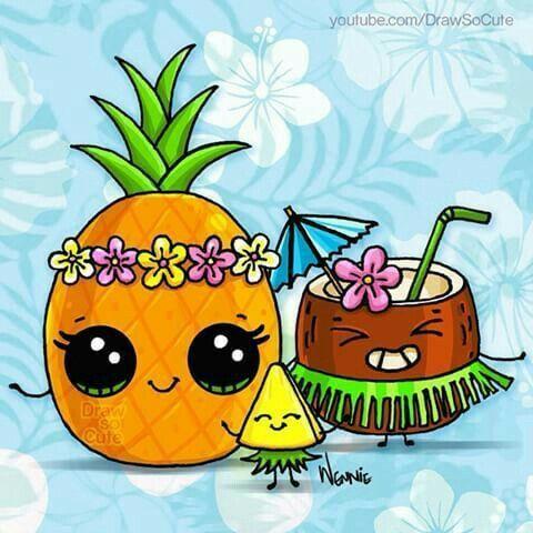Hawaii Cute Ananas Pinterest рисунки грифонаж And рисовать глаза