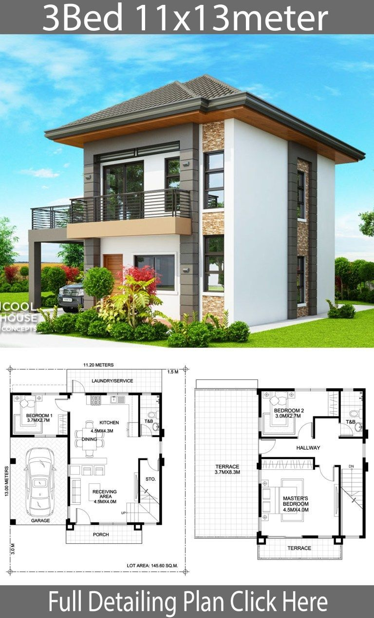 Home design plan 11x13m with 3 Bedrooms Home Design with