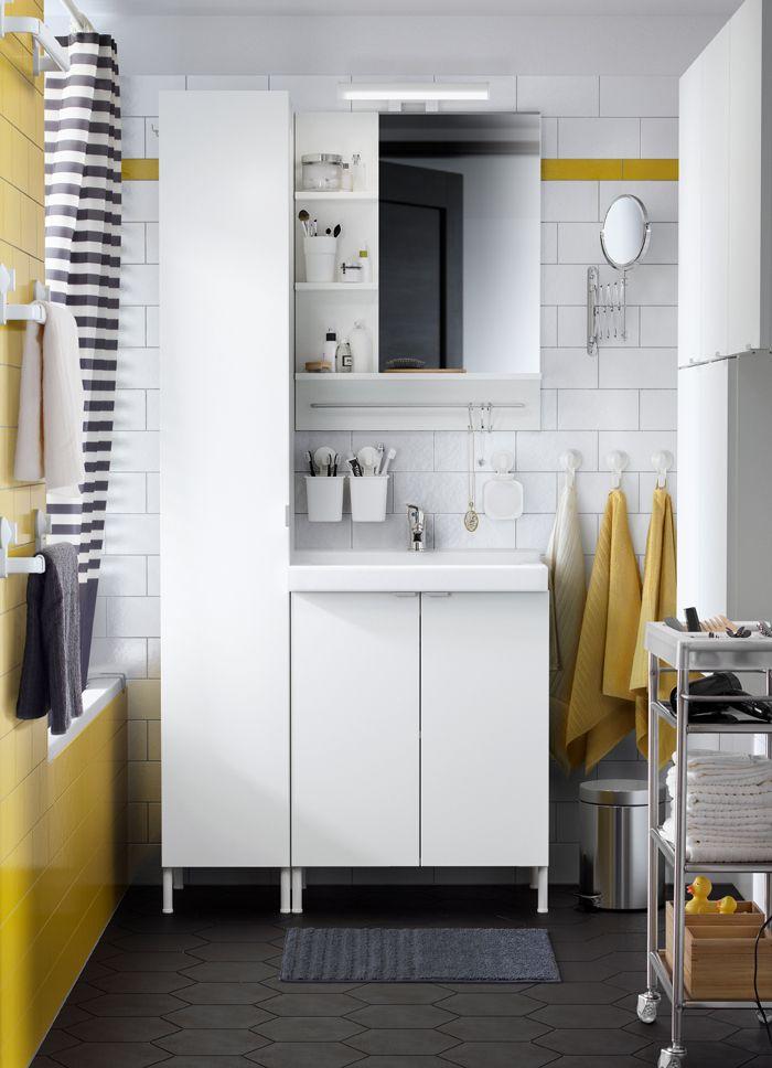 Salle de bain noire, blanche et jaune avec élément lavabo 2 portes ...