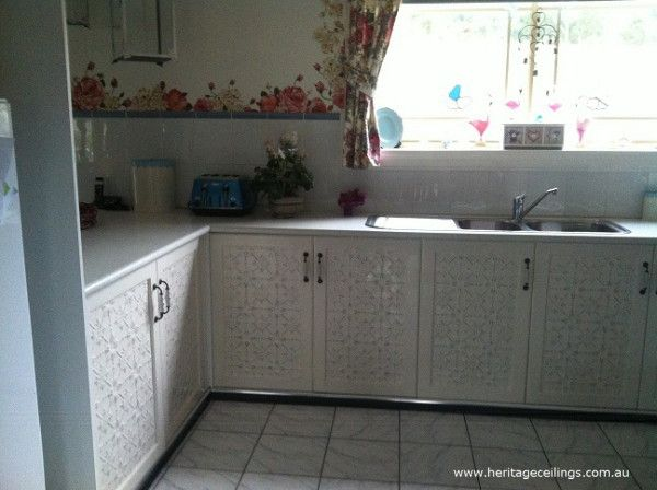 Hand Painted Cabinet Doors In The Original Design To Find Out How To Paint Your Panels Like This See Http Www H Cabinet Doors Tin Kitchen Kitchen Cabinets