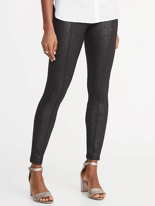 276600cbdebda Old Navy Women s High-Rise Stevie Ponte-Knit Shimmer Pants Black ...