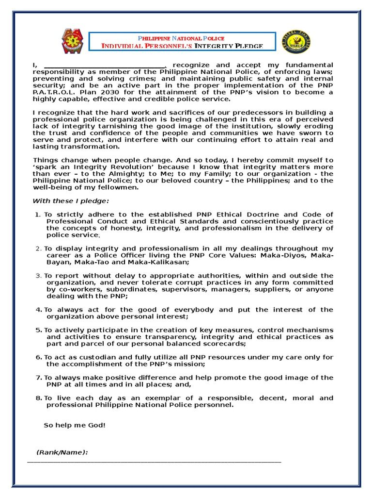 Image Result For Pnp Individual Integrity Pledge Form