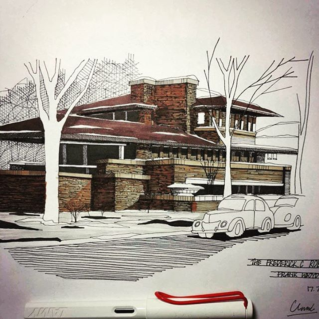 modern architectural sketches. Exellent Architectural Srchartu0027s Cool Sketch Of Robie House By Frank Llyod Wright  Throughout Modern Architectural Sketches L