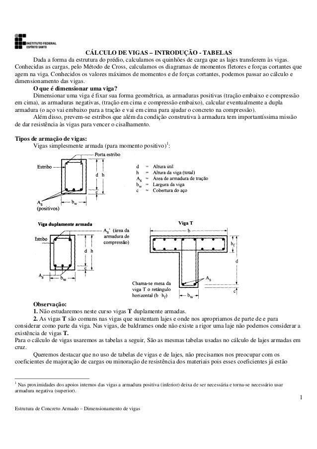 Estrutura De Concreto Armado  Dimensionamento De Vigas  Clculo