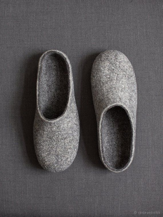 503236bc89be4 Felted men slippers Boyfriend gift Light dark grey house shoes ...