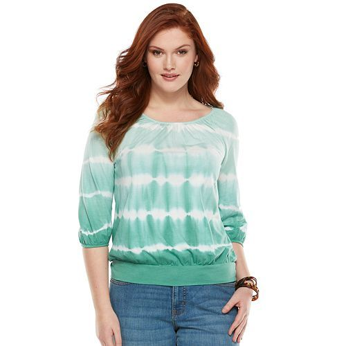 Chaps Tie-Dye Banded-Bottom Top - Women's Plus Size