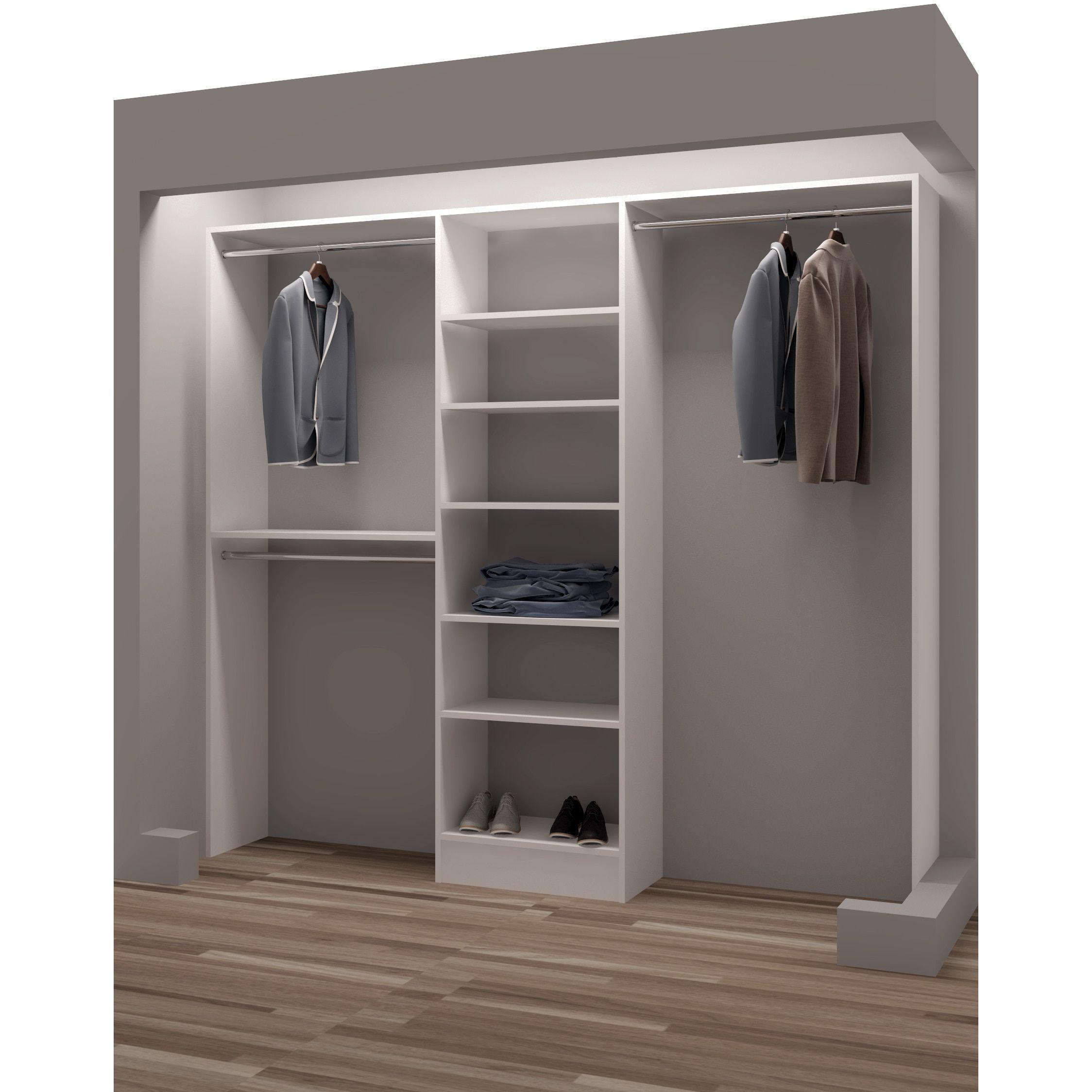 Tidysquares White Wood 93 Reach In Closet Organizer Closet