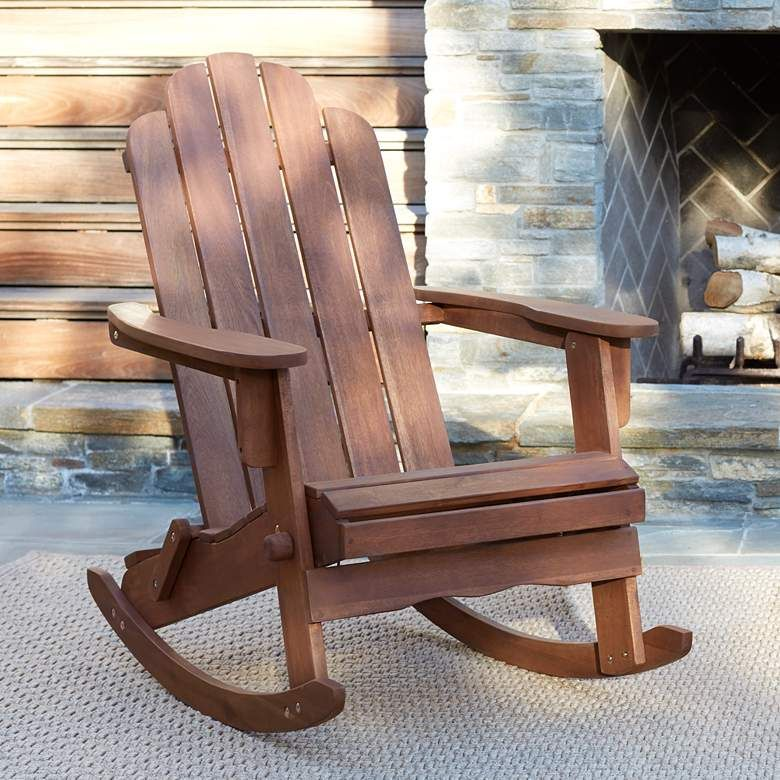 Chandler Dark Natural Adirondack Rocking Chair 1w180 Lamps