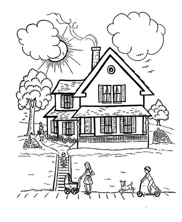 Perfect House With Family In Houses Coloring Page Color Luna House Colouring Pages Family Coloring Pages People Coloring Pages