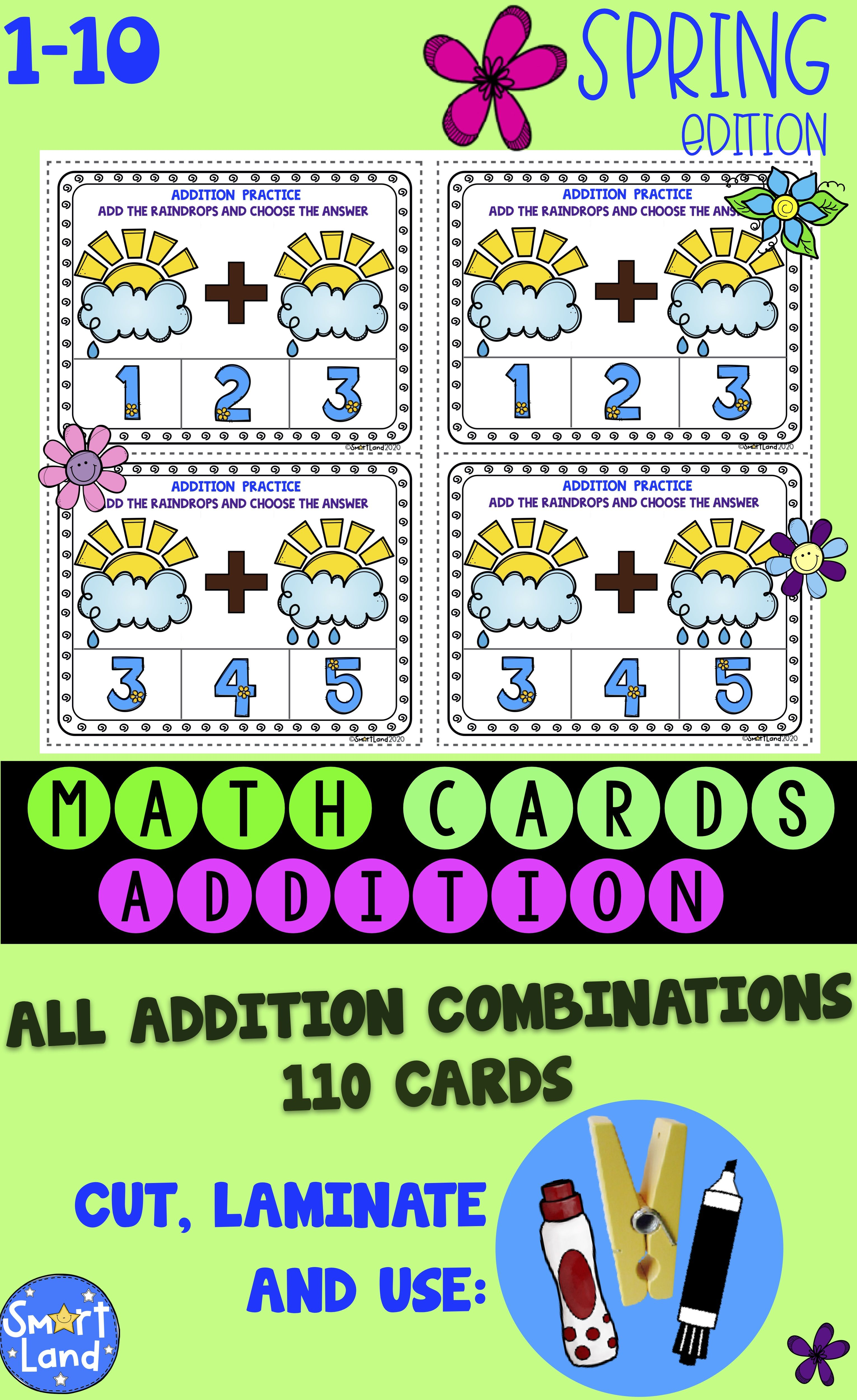 Math Cards Addition Rain Spring