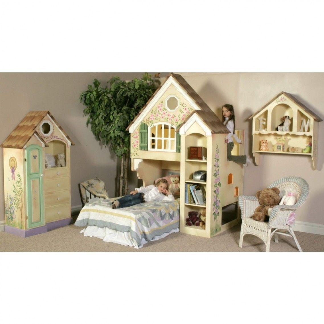 Kids metal loft bed with slide  Organization Shelves Dollhouse Kids Loft Bed Book Wall Floating