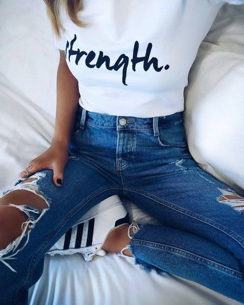 979e509e3d6ef Jeans  tumblr blue denim ripped t-shirt white t-shirt quote on it sneakers  white sneakers adidas