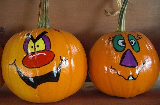 30 Funny Faced Halloween Pumpkin Drawings and Painting Ideas Art - halloween pumpkin painting ideas