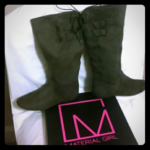 Material Girl boots. New in box. By Madonna Brand new. Awesome boots. Bought at Macy's. Material Girl Shoes Winter & Rain Boots