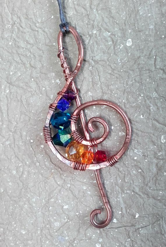 Wire wrapped treble clef copper pendant with crystals & Czech Bicone ...