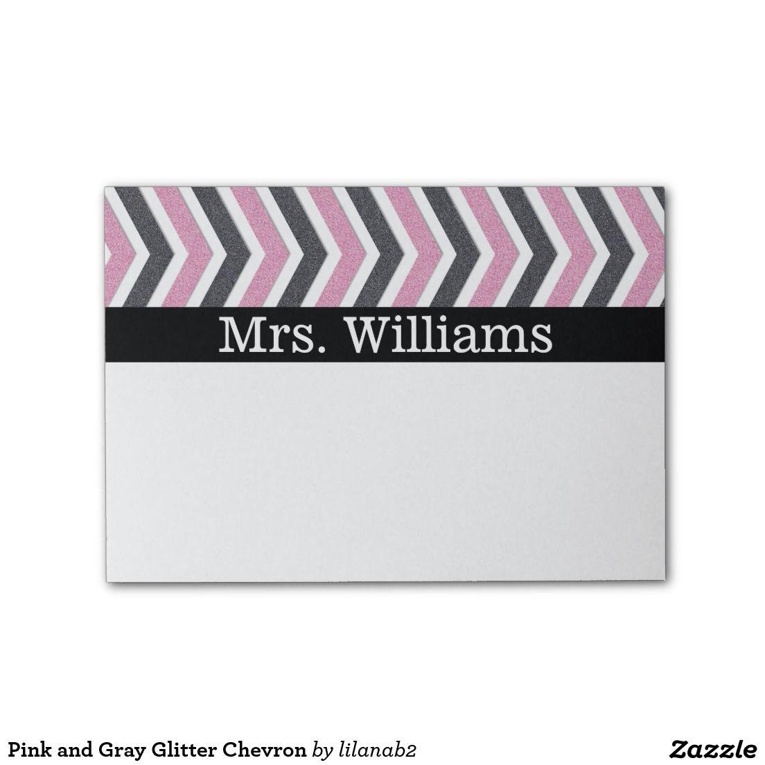 Pink and Gray Glitter Chevron Post-it® Notes @zazzle #zazzle #chevron #glitter