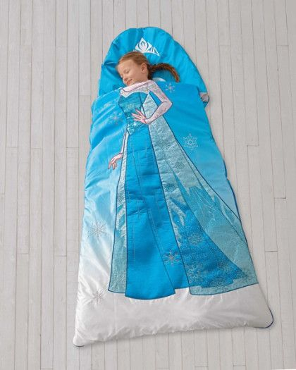 Disney Frozen Sleeping Bag - kids favorite gifts - exclusively ours - Does your girl dream of being Elsa? She'll slip easily into character in this beautiful sleeping bag. A crown graces the attached pillow, while sparkles and snowflakes decorate Elsa's dress.