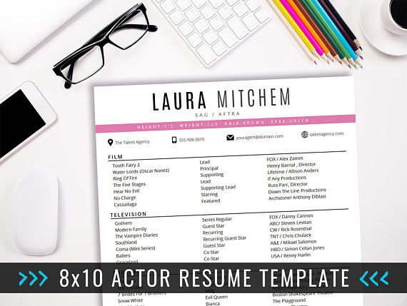 Actor Resume Template   X  Acting Resume  Instant Digital