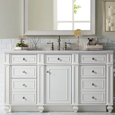 James Martin Furniture Bristol 60 Single Bathroom Vanity Set Top Finish Arctic Fall Base Finish Cottage White Top Thickness 3cm Single Bathroom Vanity James Martin Furniture Bathroom Vanity Base