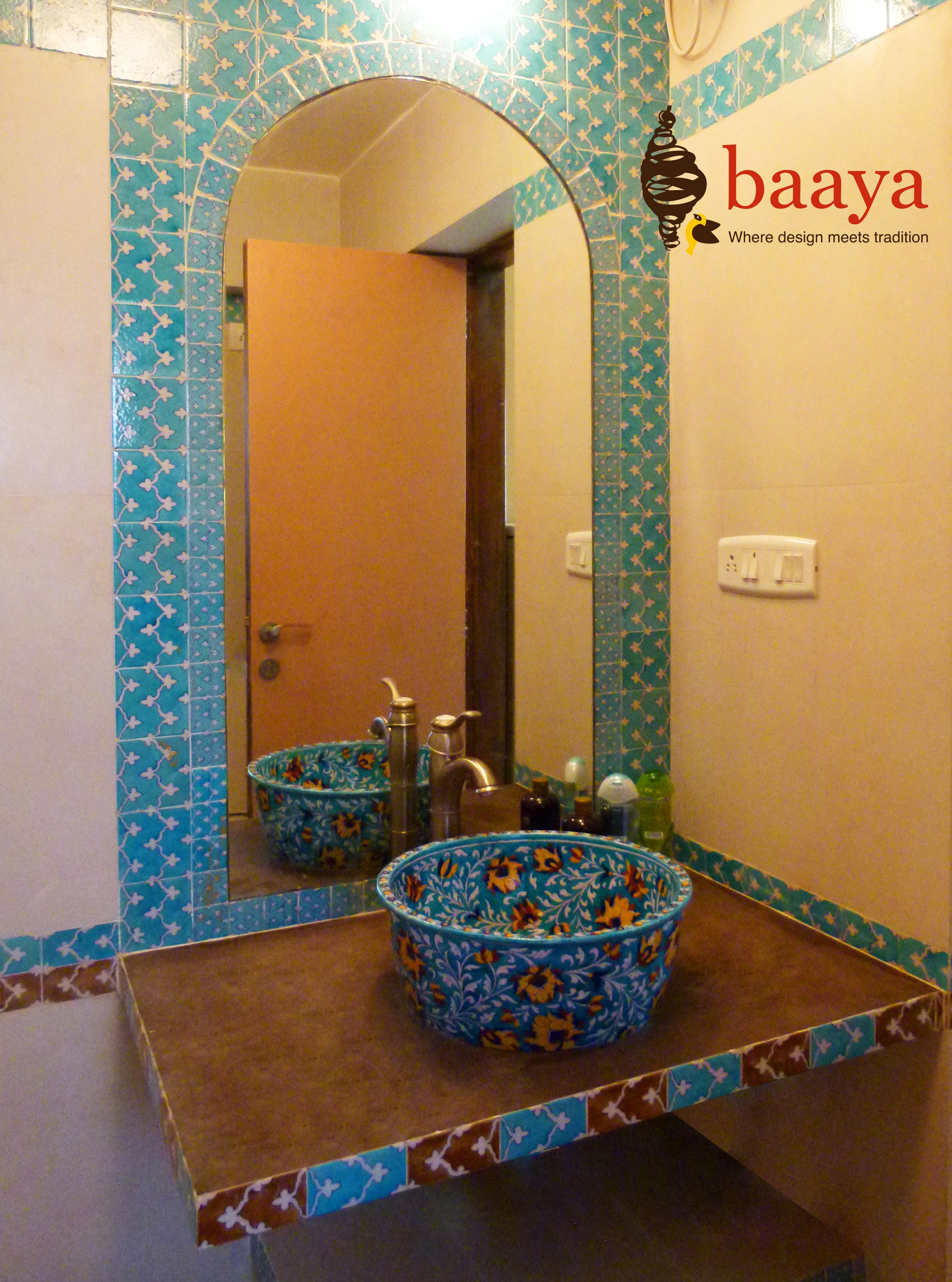 Bathroom Designed By Blue Pottery Tiles And Wash Basin And Art Form From Jaipur Blue Pottery Bathroom Wall Decor Wash Basin