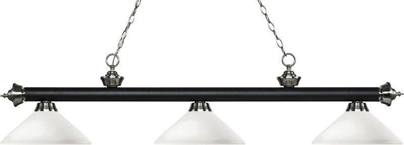Z-Lite 200-3MB+BN-AMO14 3 Light Billiard Light Rivera Matte Black & Brushed Nickel Collection Angle Matte Opal Finish
