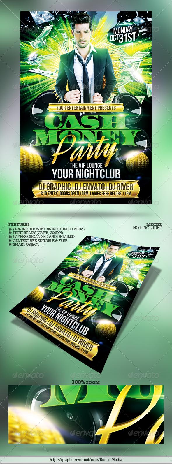 Club Sessions L Cash Money Party Flyer Cash Money Party Flyer And - Money flyer template