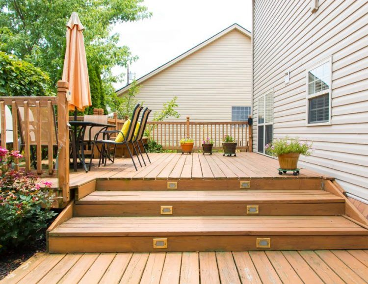 Two level deck and patio area