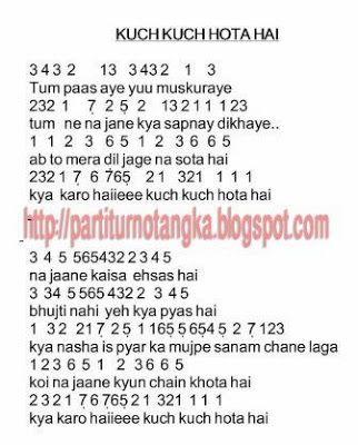 Lirik Lagu Kuch Kuch Hota Hai : lirik, Notasi, India, Angka, Musik,, Pianika,, Lirik