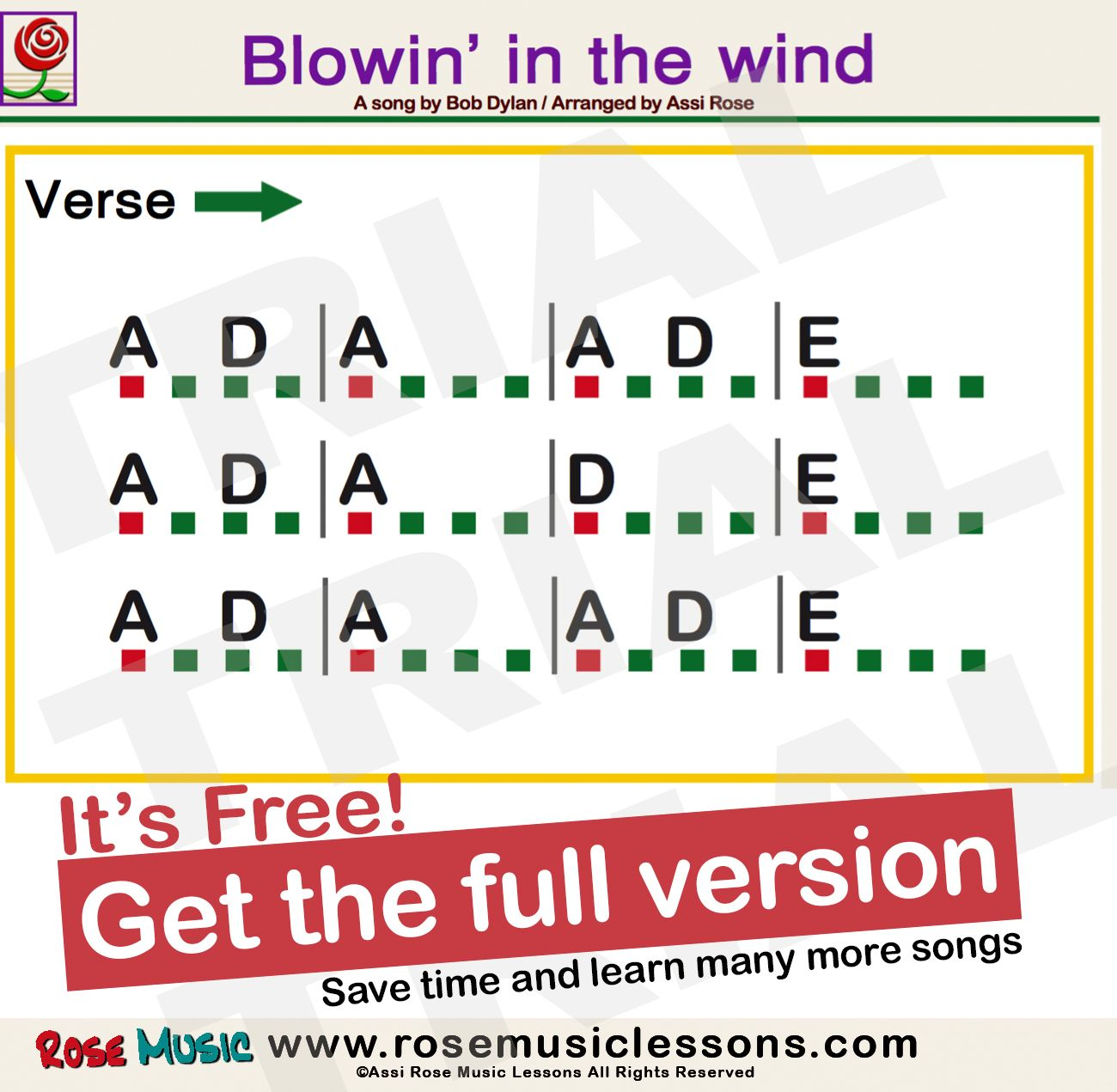 Blowin In The Wind Bob Dylan Super Easy Chords For Beginners For