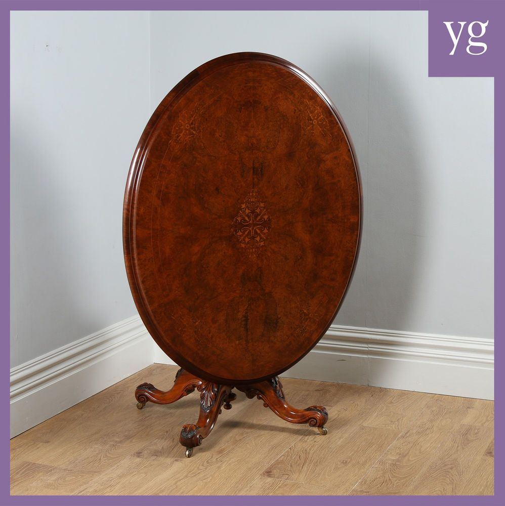 Inlaid Dining Table Antique Victorian Burr Walnut Inlaid Marquetry Oval Breakfast